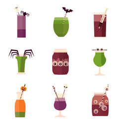 halloween party cocktails and drinks menu vector image