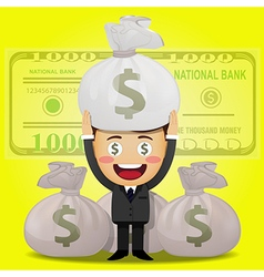 happy man carrying big money bag vector image