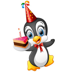 Happy penguin cartoon holding birthday cake vector