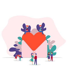 happy valentines day tiny people vector image