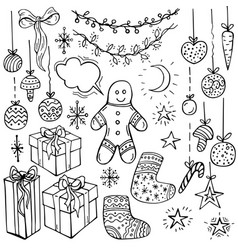 Holiday collection set christmas cookie vector
