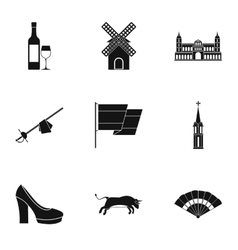 Holiday in Spain icons set simple style vector image