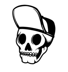 Human skull in baseball cap design element for vector