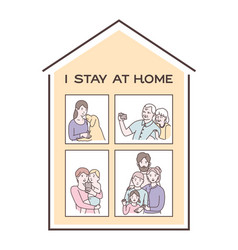 I stay at home awareness social media campaign and vector