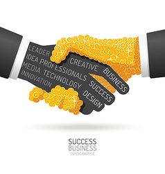 Infographic business coins handshake shape vector image