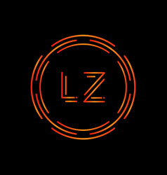 initial lz letter logo design template abstract vector image