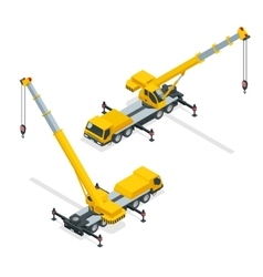 Isometric crane heavy equipment and machinery vector