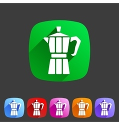 Italian coffee maker moca icon flat web sign vector