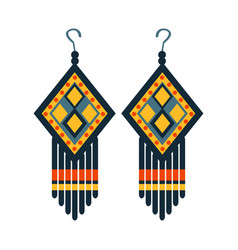Jewelry earrings for woman native american indian vector