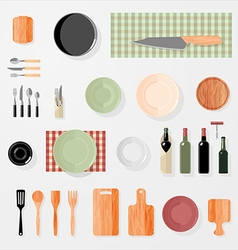 Kitchen bar restaurant design elements vector