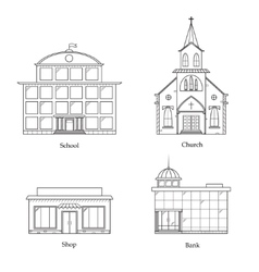Linear Buildings Set vector