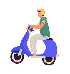 man riding on motorbike cartoon teenager in vector image
