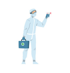 medical professional in protective suit checking vector image