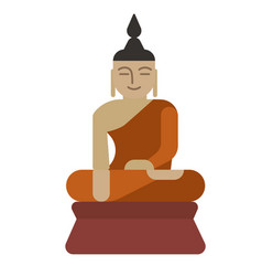 Meditating person flat on white vector