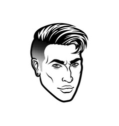 Men face hipster head with haircuts for vector