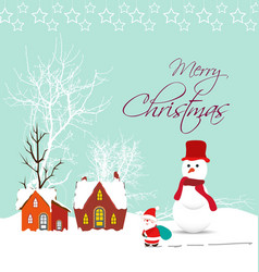 Merry christmas card with santa claus snowman and vector image vector image