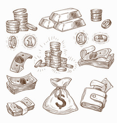 money and gold coins and banknotes wallet or bag vector image
