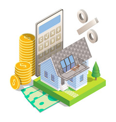 mortgage interest rates concept isometric vector image