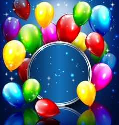 Multicolored inflatable balloons with circle frame vector