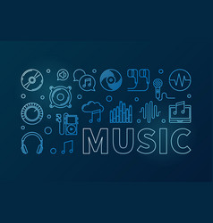 music blue or banner in thin vector image