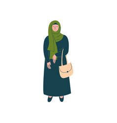 muslim woman in hijab standing with bag modern vector image