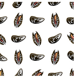 mussels seamless pattern flat gradient sea food vector image