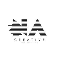 na n a zebra letter logo design with black and vector image