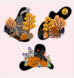 old wooden houses and halloween elements isolated vector image