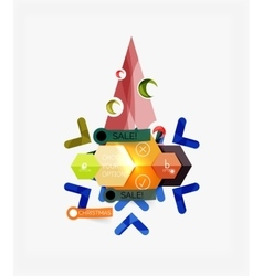 Paper christmas greeting card banners with text vector