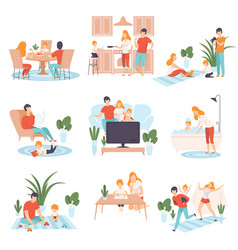 Parents and their kid in everyday life at home set vector