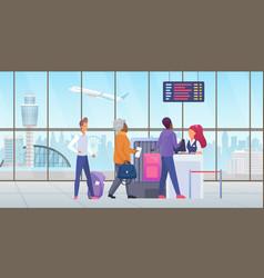 people passenger at international airport check vector image