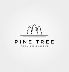 pine tree line art logo minimalist symbol design vector image