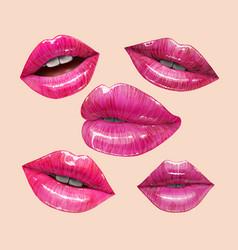 pink lips set vector image