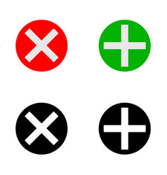 Plus and cross icon vector