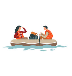 Rafting or hiking man and woman couple backpack vector