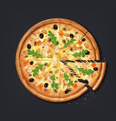 realistic pizza pieces fresh pizza part vector image