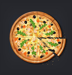 Realistic pizza pieces fresh pizza part with vector