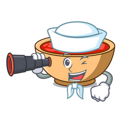 Sailor with binocular tomato soup character vector