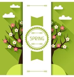 Seasonal with spring tree in flat vector