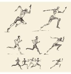 Set drawn running man healthy sketch vector image