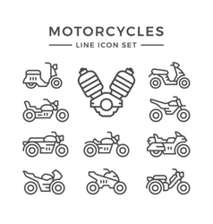 set line icons motorcycles vector image