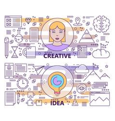 set modern thin line creative idea vector image