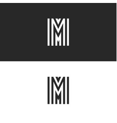 set monogram logo m letter black and white vector image