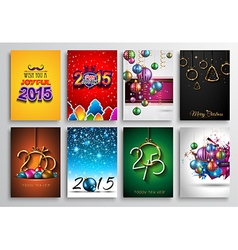 Set of 2015 New Year and Happy Christmas vector image