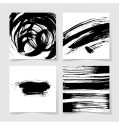 set of four black ink brushes grunge pattern hand vector image