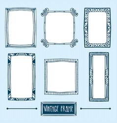 set of hand drawn vintage frames vector image