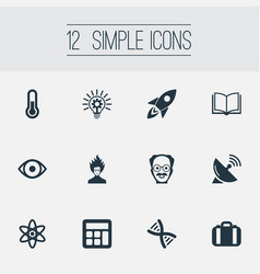 Set of simple science icons vector