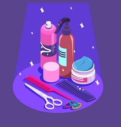 Set of styling equipment cream spray shampoo vector