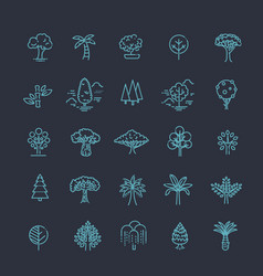 Set of tree shape line icons vector