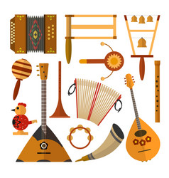 Set russian folk music instruments in vector